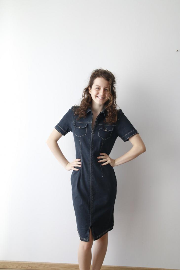 dark blue zipper outfit idea