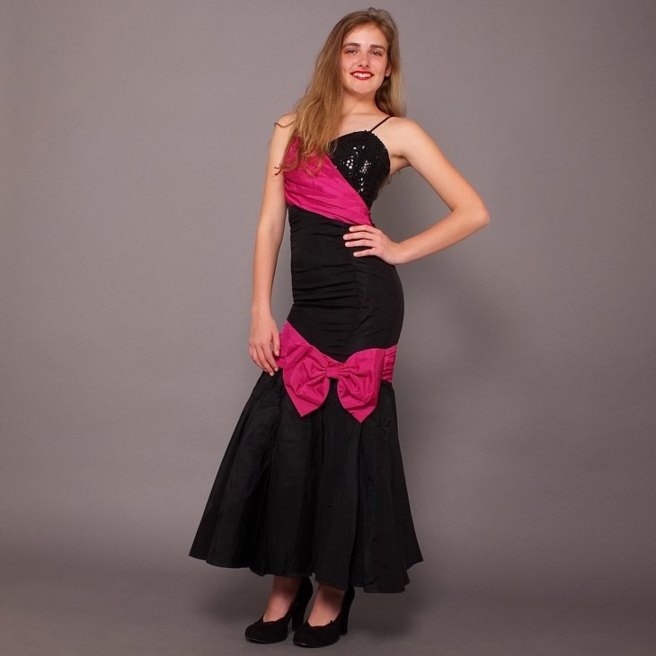 pink and black mermaid gown