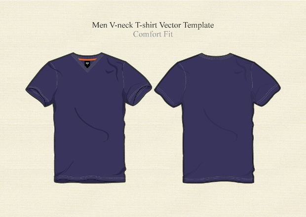 Men Basic V Neck T-shirt Vector