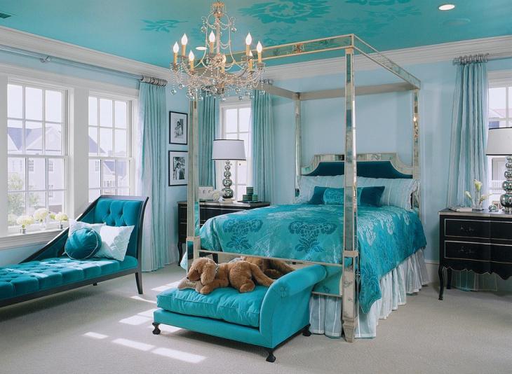 blue chandelier canopy bedroom