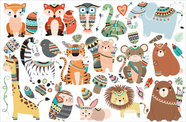 Tribal Animals Isolated Vector Set