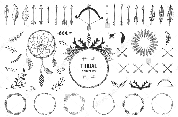 Hand Drawn Tribal Collection Vector