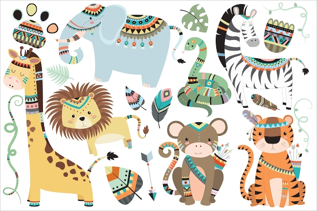 Tribal Jungle Animals Vector
