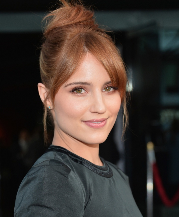 Dianna Agron Top Knot With Bangs