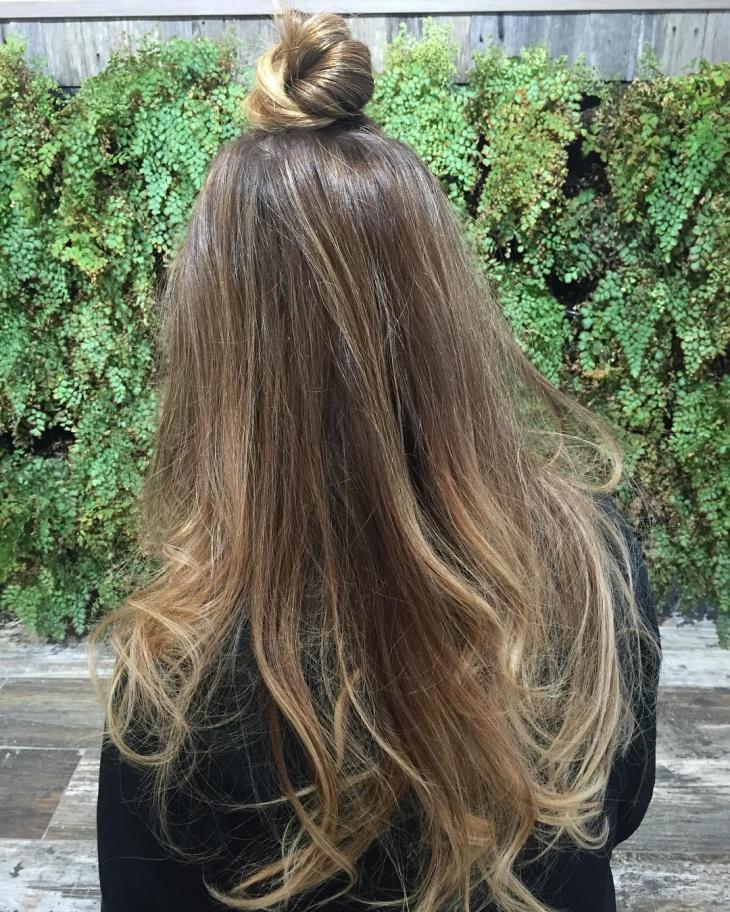 lovely top knot for long hair