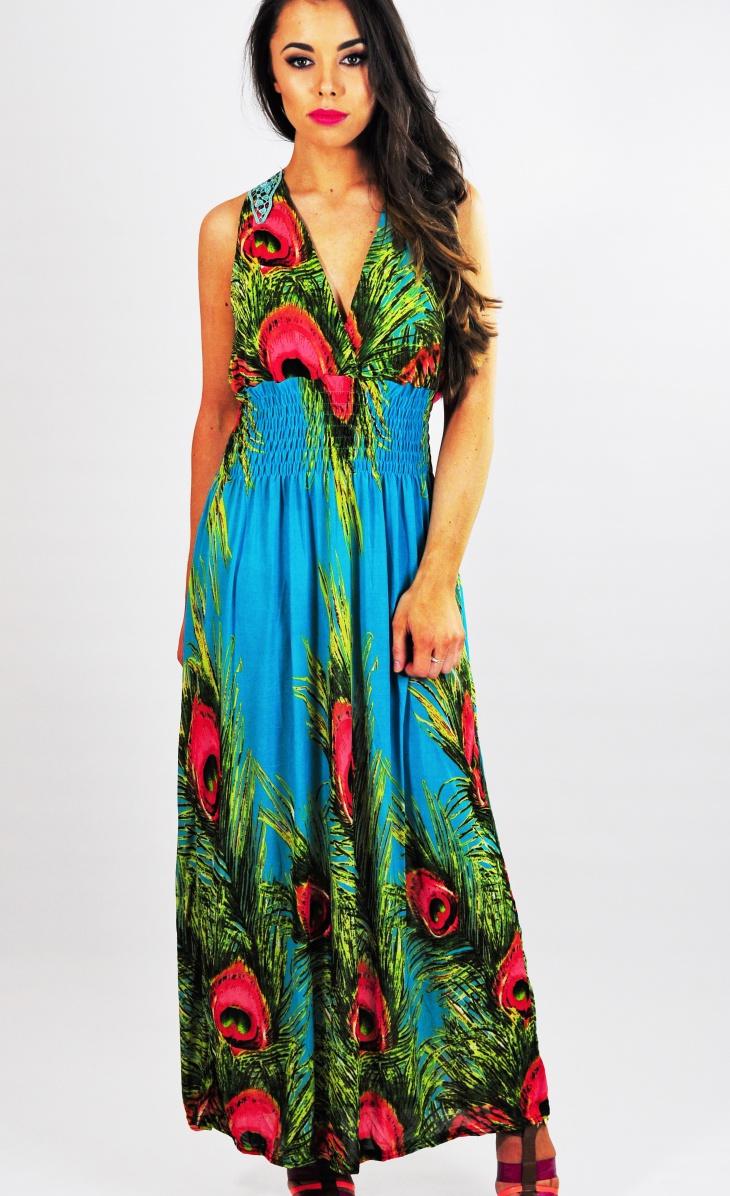 peacock printed dress