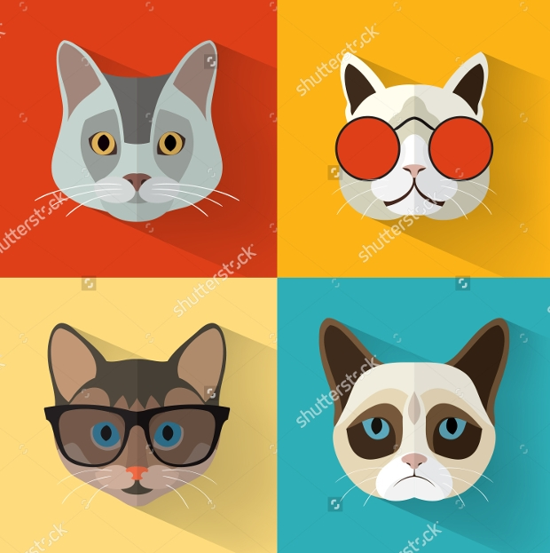 flat cat vector set