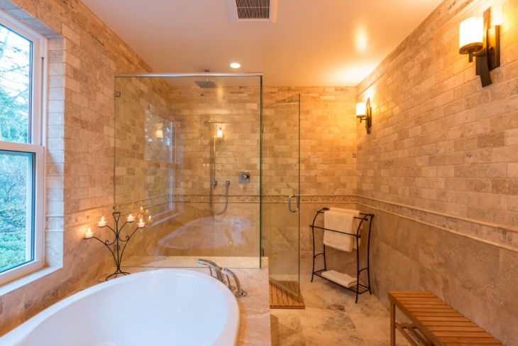 tumbled travertine bathroom