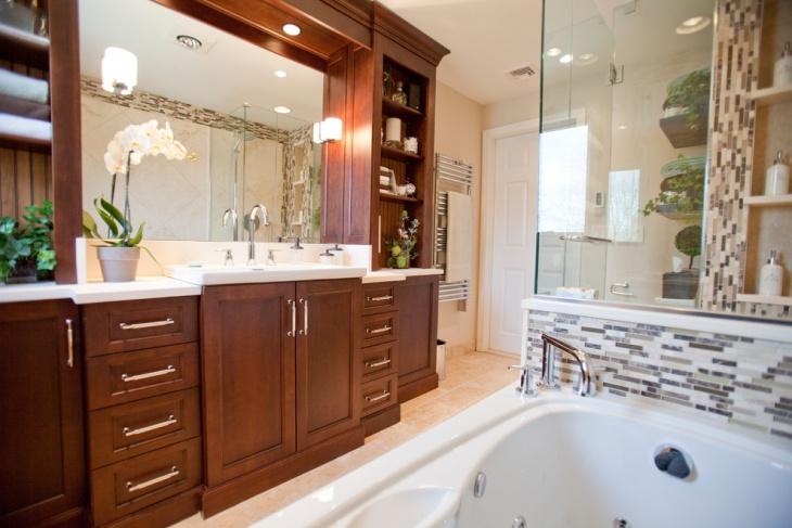 Undermount Sink With Darkwood Cabinets Bathroom