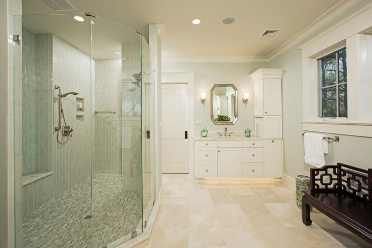 whitish travertine bathroom with glass shell