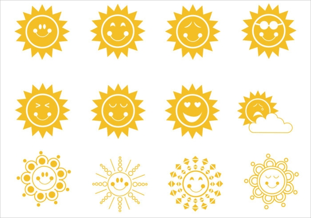 Cute Smiley Sun Brushes