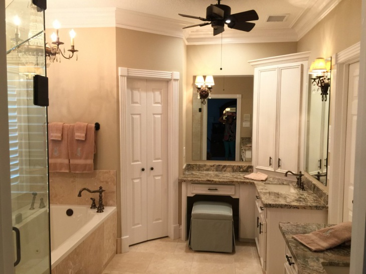 Travertine Classic Bathroom With Fan & Lamps