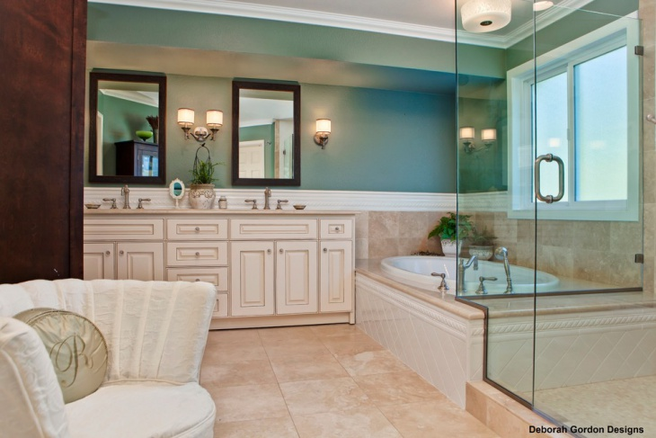 Luxurious Double Vanity Travertine Tiled Bathroom