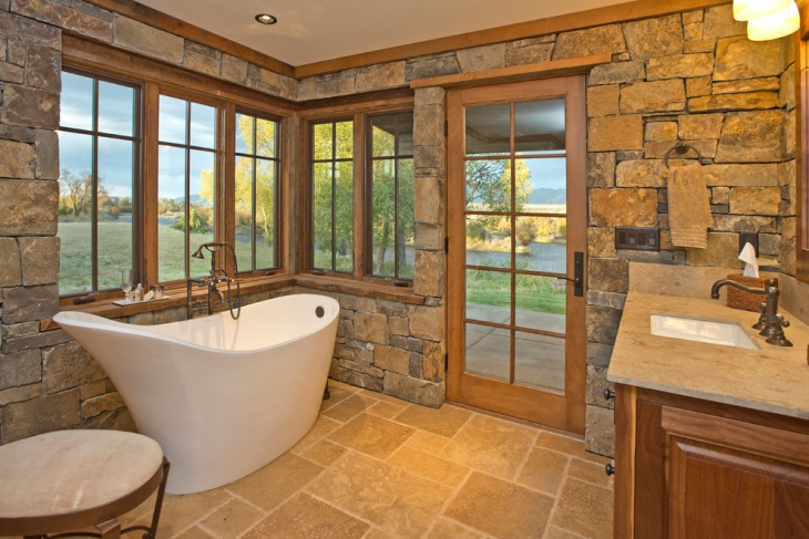 tiny rock structured travertine bathroom