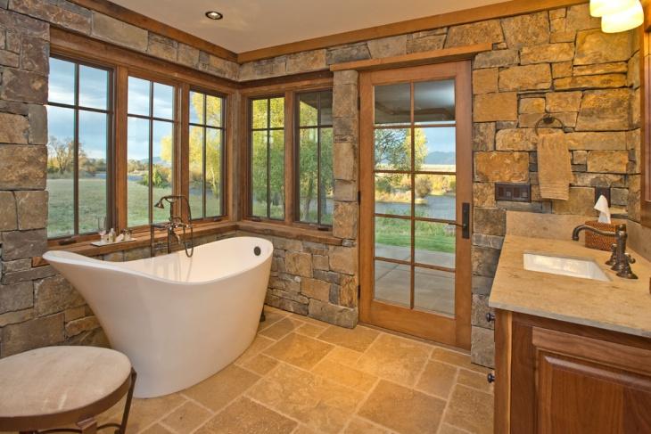 Tiny Rock Structured Travertine Bathroom