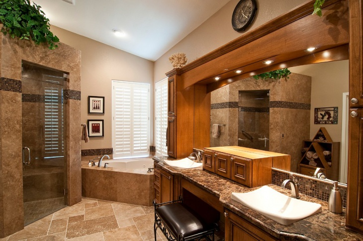 custom cabinetry bathroom with dark marble travertine