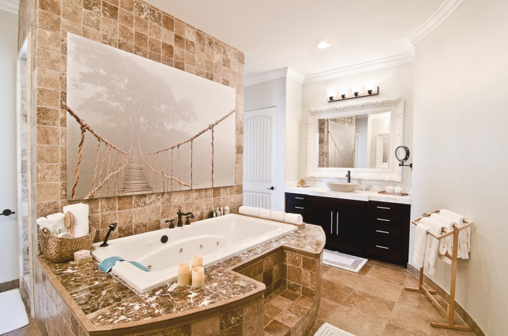 Hung Print Tub Designed With Honed Marbles