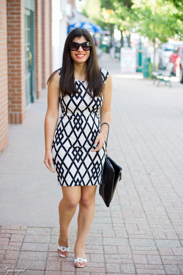diamond print black dress