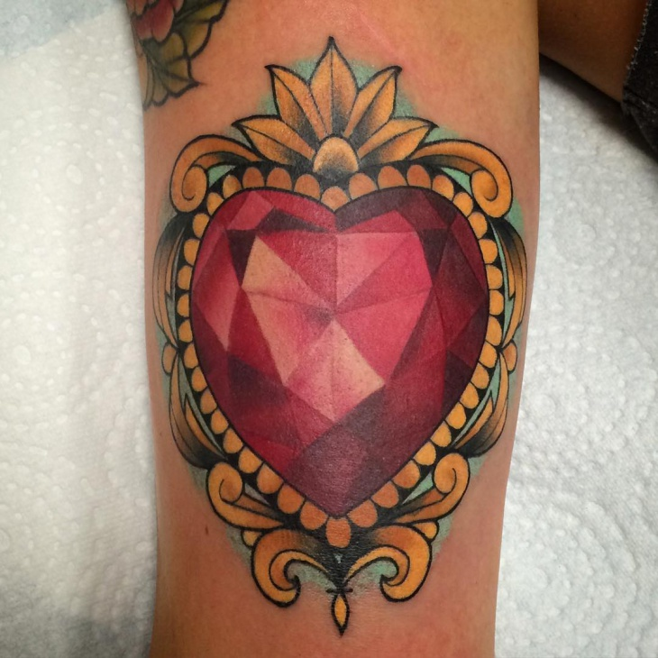 21 jewel tattoo designs ideas design trends premium for Diamond heart tattoo