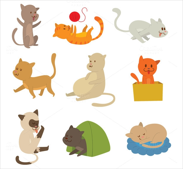 domestic cat vector art