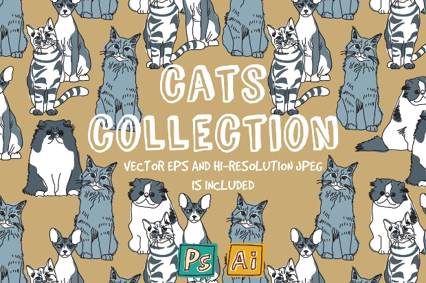 cats vector collection illustration