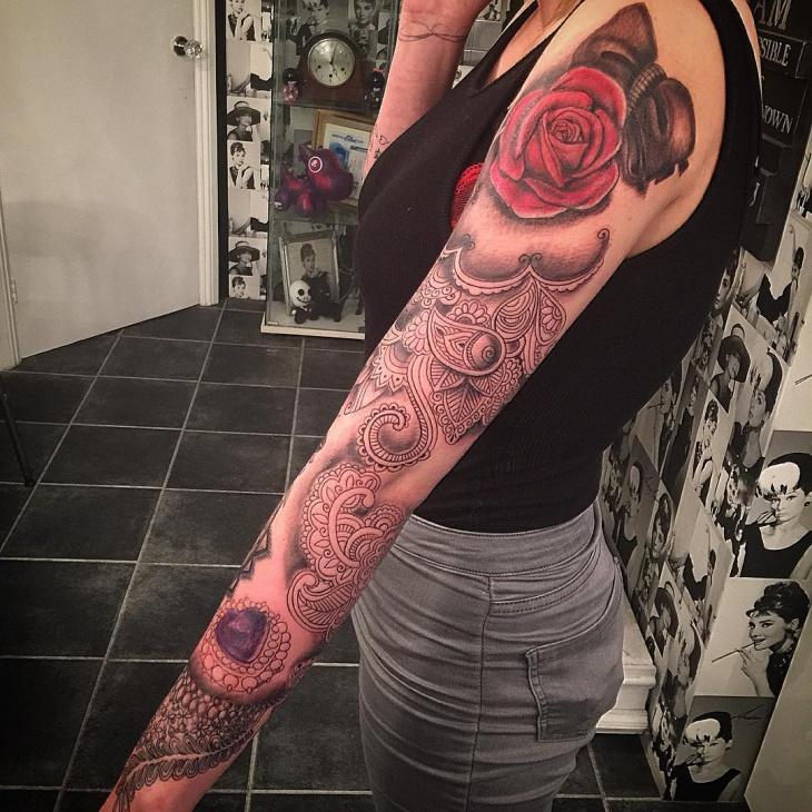 jewel full sleeve tattoo for women