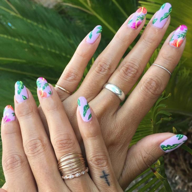 hibiscus flower nail art