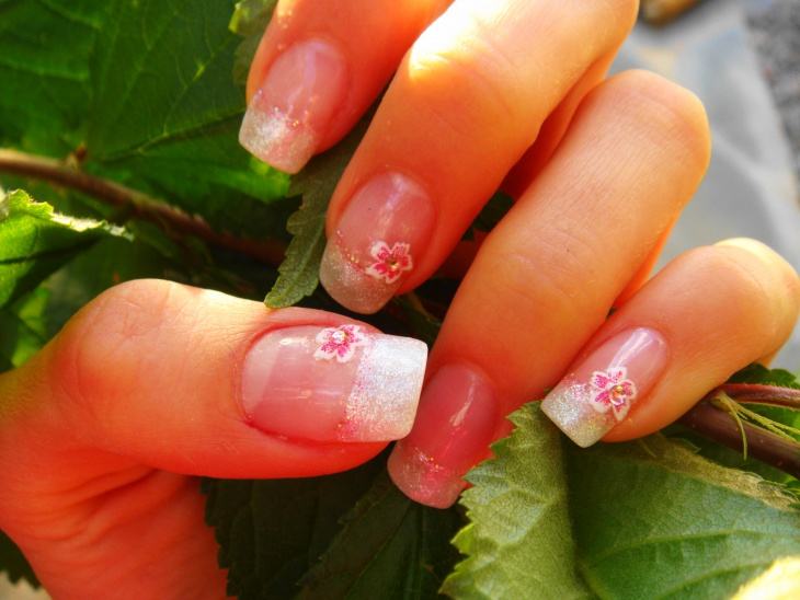 hibiscus nail french manicure idea