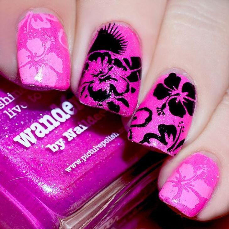 pink hibiscus flower nail design