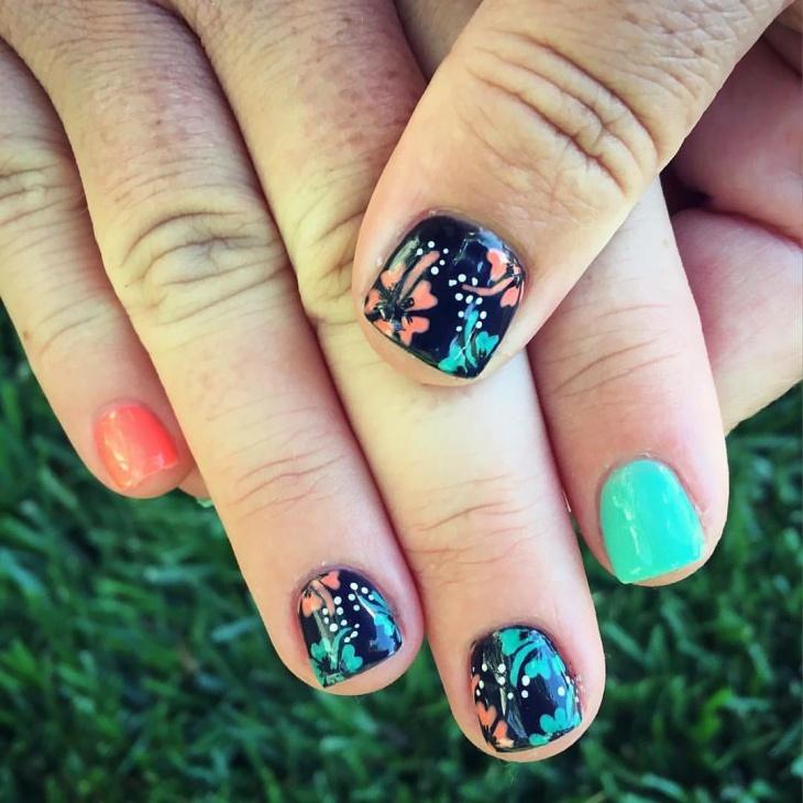 Neon Hibiscus Nail Art