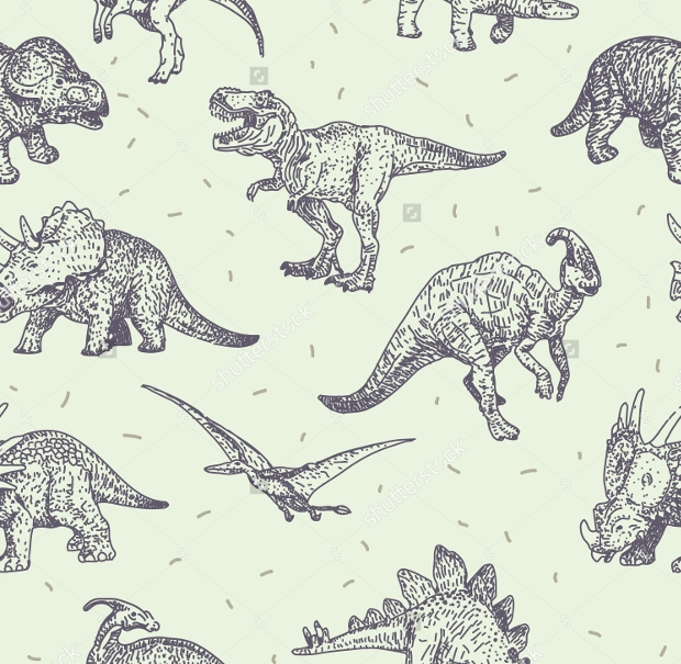 Dinosaurs Vector Drawings Seamless Pattern