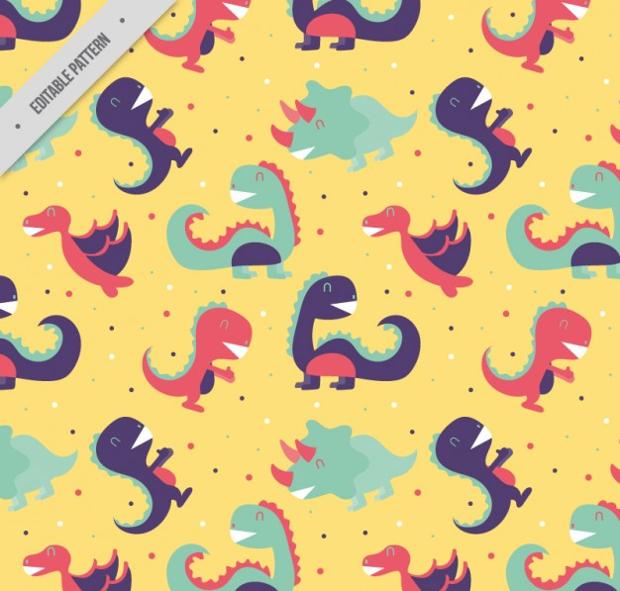 funny dinosaurs pattern