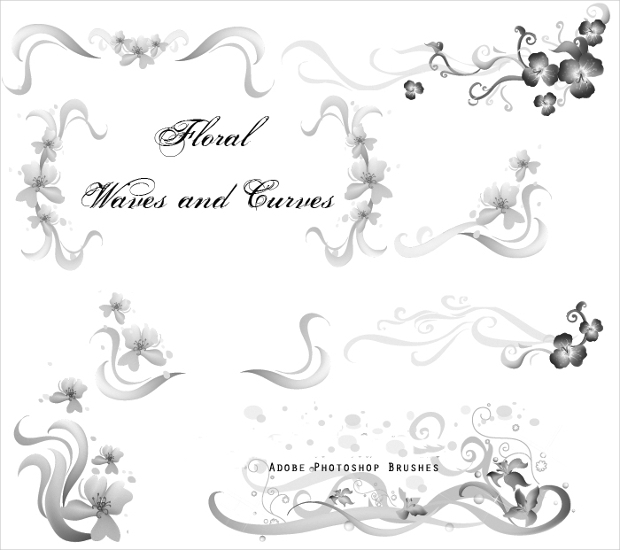 floral waves and curves photoshop brushes
