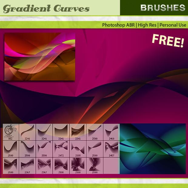 gradient curves brush set