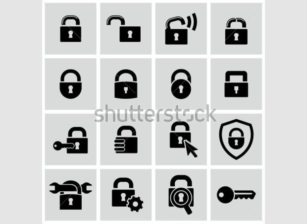 Stylish Flat Lock Icons