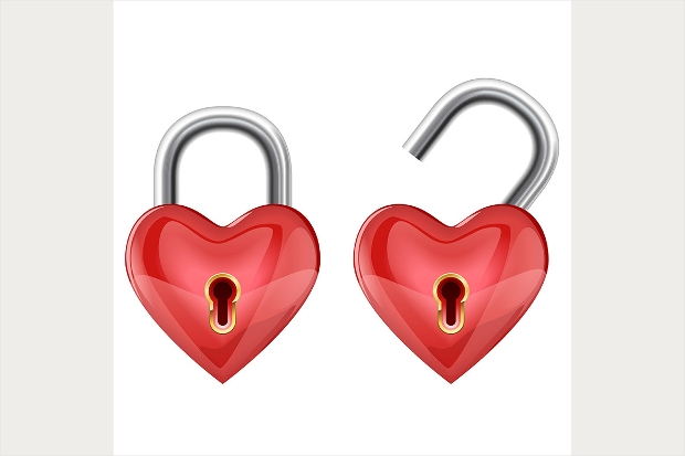 red heart lock icons