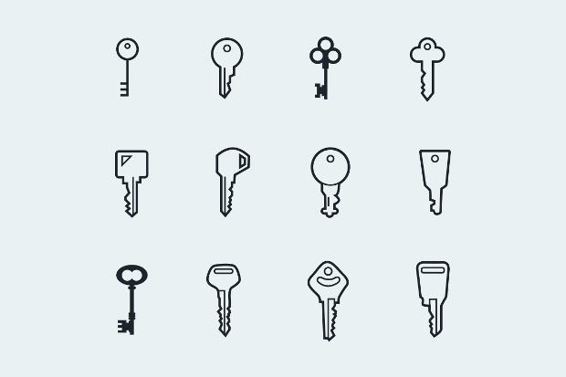Key and Lock Icon Set