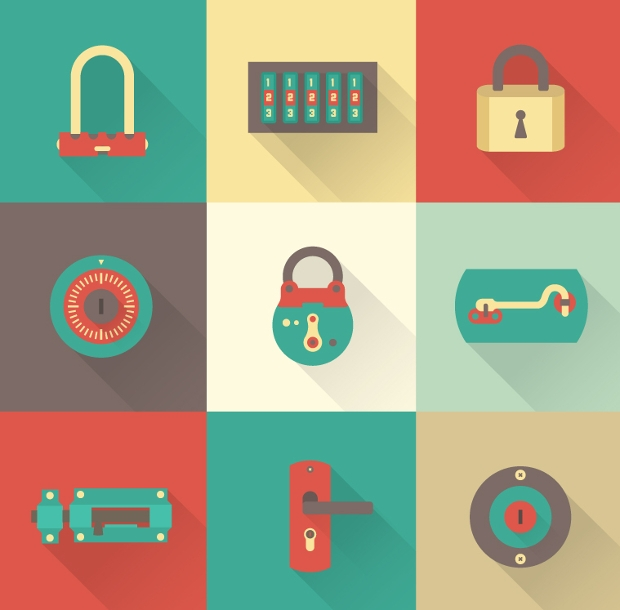 vector psd lock icons