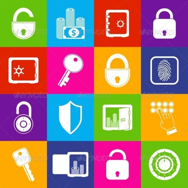 Colorful Lock Safe Icon Design