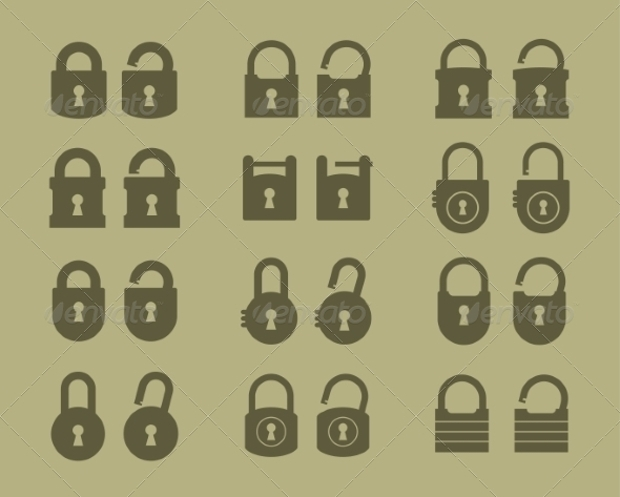 lock and unlock icons