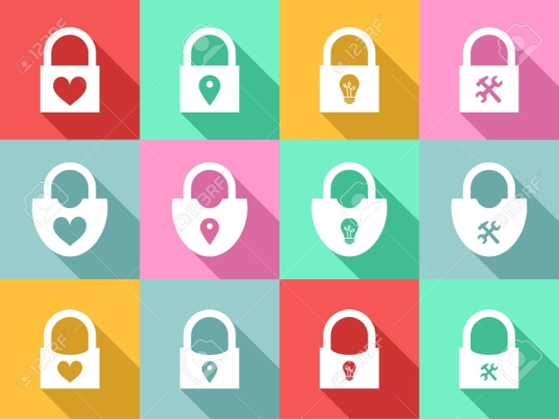 colorful safety lock icons