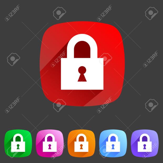 Flat Style Lock Icons