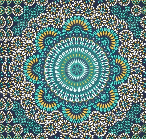 Seamless Pattern in Mosaic Ethenic Style