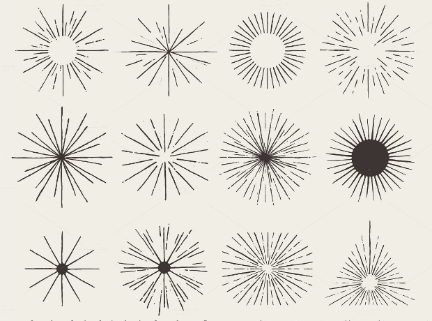 hand drawn sunbursts brushes