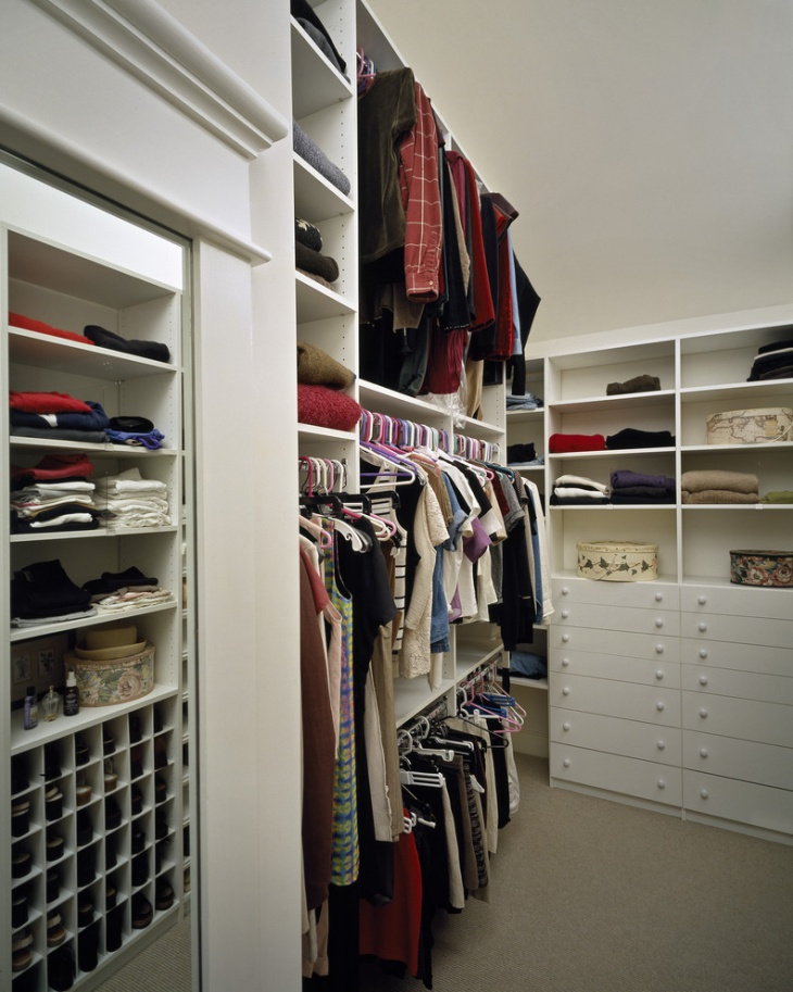 classy white walkin closet