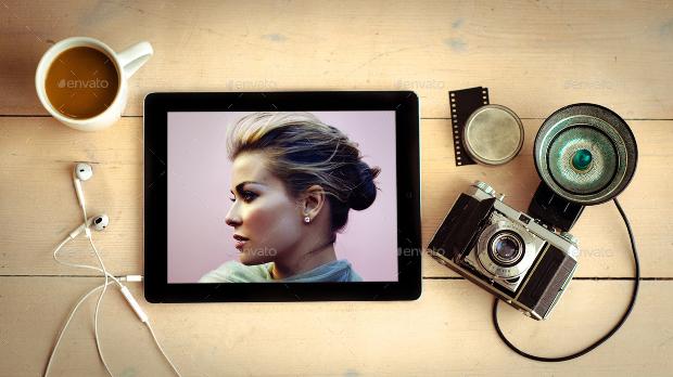 Realistic PSD Photography Device Mockup