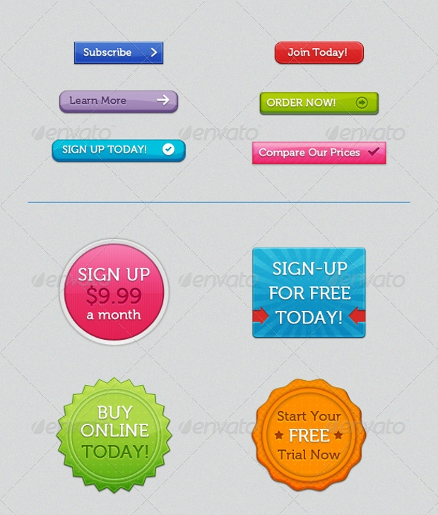 Photoshop PSD Call to Action Buttons