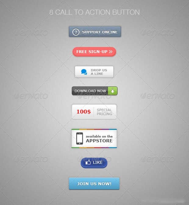Call To Action Psd Buttons