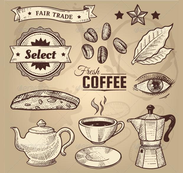 vintage coffee cafe vector
