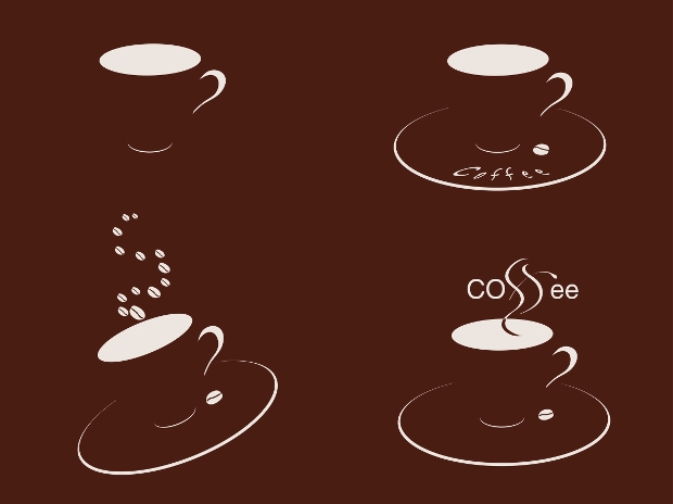 coffee cups silhouette vector